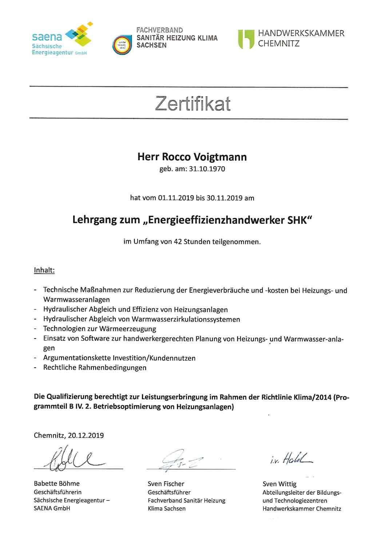 Zertifikat-Energieeffizienz